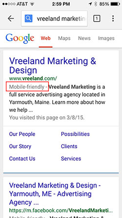 Mobile-friendly label in Google search results